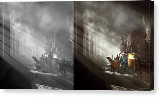 Canvas Print featuring the photograph Train - Repair - Smoking Section 1942 - Side By Side by Mike Savad
