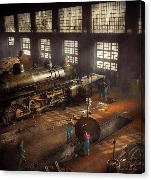 Canvas Print featuring the photograph Train - Repair - Third Door On The Right 1942 by Mike Savad