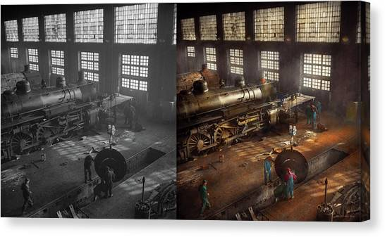 Canvas Print featuring the photograph Train - Repair - Third Door On The Right 1942 - Side By Side by Mike Savad