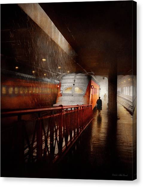 Canvas Print featuring the photograph Train - Retro - Last Train Of The Day 1943 by Mike Savad