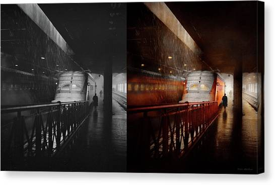 Canvas Print featuring the photograph Train - Retro - Last Train Of The Day 1943 - Side By Side by Mike Savad