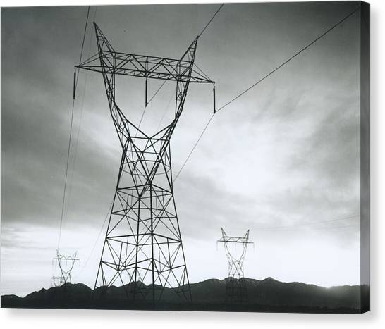 Mojave Desert Canvas Print - Transmission Lines In Mojave Desert by Archive Photos