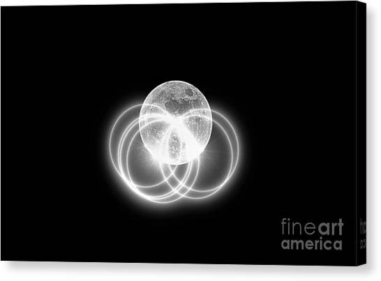 Canvas Print featuring the photograph Transparent Moon Black And White by Patti Whitten