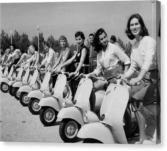 Transport. Scooters. Pic Circa 1955. A Canvas Print by Popperfoto