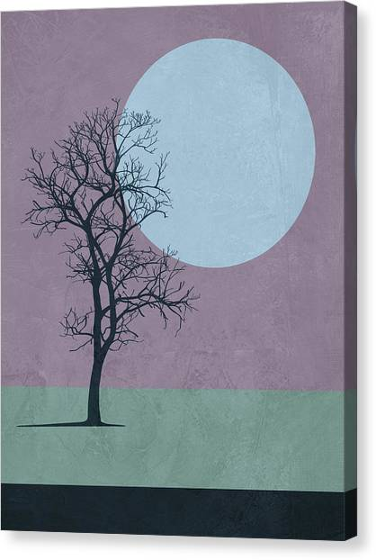 Cacti Canvas Print - Tree And The Moon by Naxart Studio