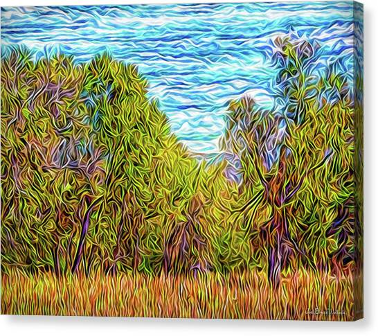 Canvas Print featuring the digital art Trees In The Field by Joel Bruce Wallach