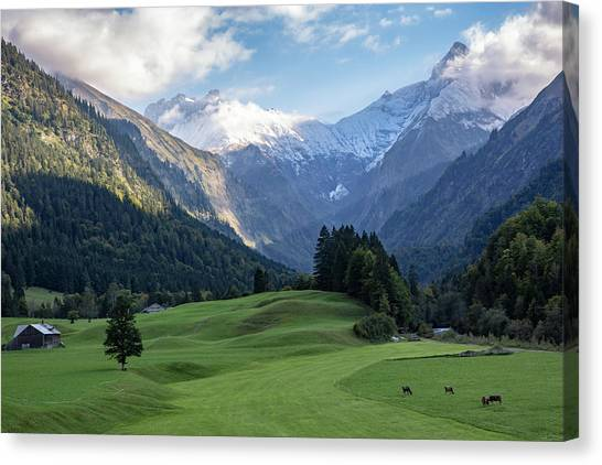 Canvas Print featuring the photograph Trettachtal, Allgaeu by Andreas Levi