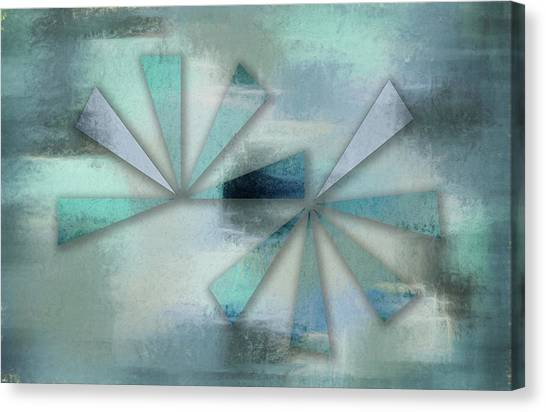 Triangles On Blue Grey Backdrop Canvas Print
