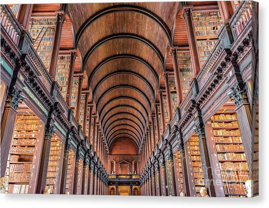 Trinity College Library In Dublin Canvas Print by Delphimages Photo Creations