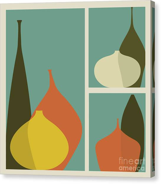 Form Canvas Print - Triptych Of Vases by Trendywest