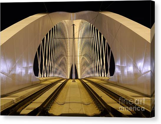 Monument Canvas Print - Troja Bridge In Prague. Beautiful Night by Stanislav Duben