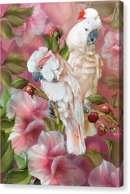 Canvas Print featuring the mixed media Tropic Spirits - Cockatoos by Carol Cavalaris