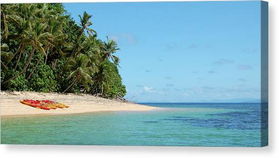 Tropical Beach Island Kayaking Canvas Print by Opulent-images
