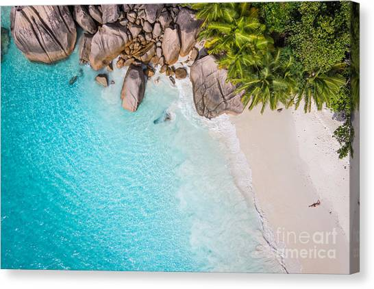 Yacht Canvas Print - Tropical Beach With Sea And Palm Taken by Im photo