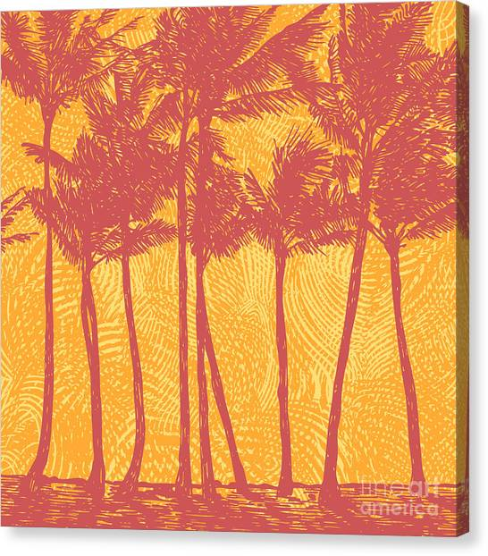 Horizontal Canvas Print - Tropical Coast With Palms. Vector by Jumpingsack