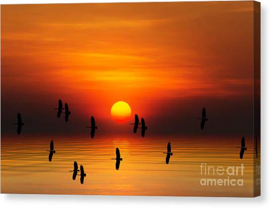 Tropical Colorful Sunset, Songkhla Canvas Print by Siriwat Srinuroht