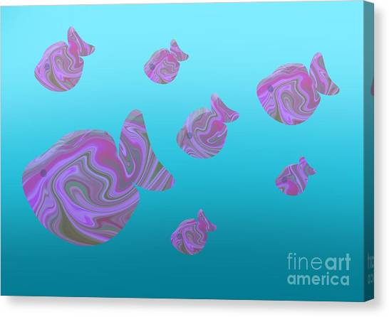 Tropical Fish In Pink Psychedelic Pattern Canvas Print