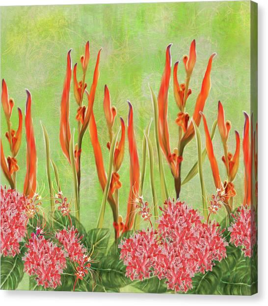 Tropical Floral Print Lime Green Batik Canvas Print