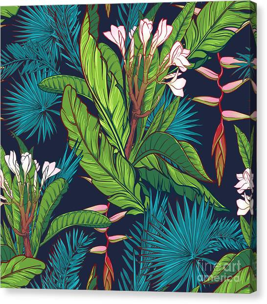 Tropical Plant Canvas Print - Tropical Jungle Seamless Pattern On by Antonpix