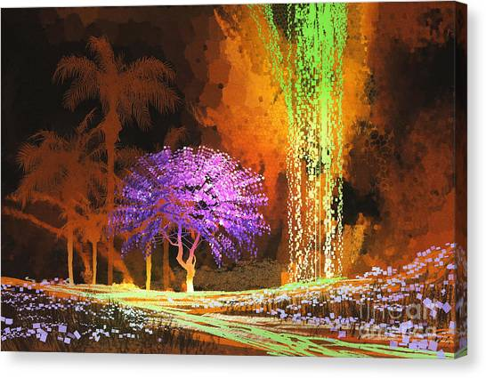 Acrylic Canvas Print - Tropical Landscape Showing Purple Tree by Tithi Luadthong