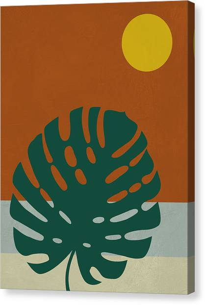 Cacti Canvas Print - Tropical Leaf And Blue Moon by Naxart Studio