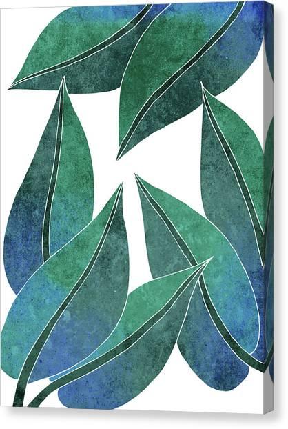 Blossom Canvas Print - Tropical Leaf Illustration - Blue, Green - Botanical Art - Floral Design - Modern, Minimal Decor by Studio Grafiikka