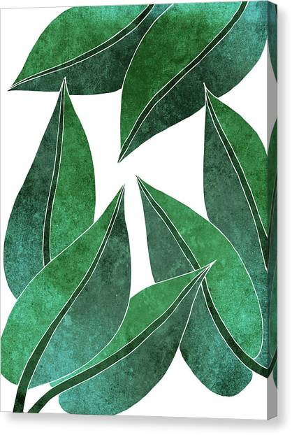 Blossom Canvas Print - Tropical Leaf Illustration - Green - Botanical Art - Floral Design - Modern, Minimal Decor by Studio Grafiikka