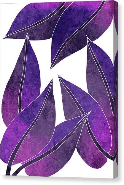 Blossom Canvas Print - Tropical Leaf Illustration - Violet, Purple - Botanical Art - Floral Design - Modern, Minimal Decor by Studio Grafiikka