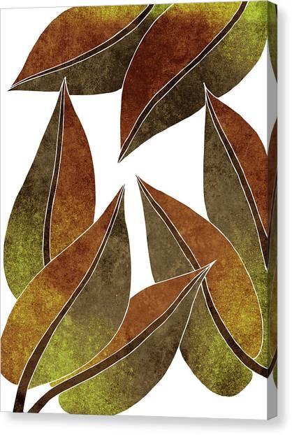 Blossom Canvas Print - Tropical Leaf Illustration - Yellow, Brown - Botanical Art - Floral Design - Modern, Minimal Decor by Studio Grafiikka