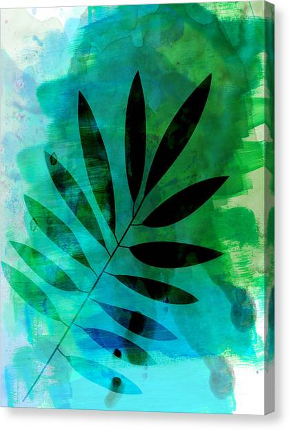Cacti Canvas Print - Tropical Leaf Watercolor  by Naxart Studio