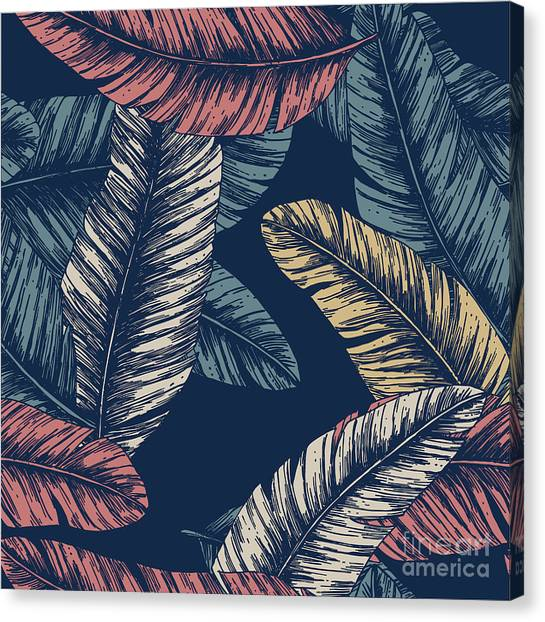 Tropical Plant Canvas Print - Tropical Palm Leaves. Seamless Pattern by Adehoidar