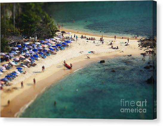 Sandy Beach Canvas Print - Tropical Sandy Beach And Calm Lagoon by Dudarev Mikhail