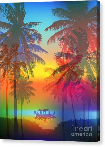 Tropical Plant Canvas Print - Tropical Sunset On Palm Beach And by Yulianas