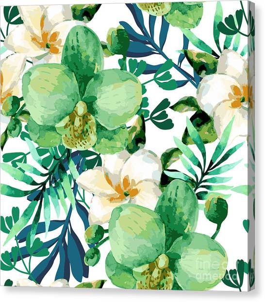Flash Canvas Print - Tropical Watercolor Floral Seamless by Ponomarchuk Olga