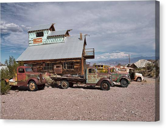 Trucks Lined Up In Nelson Canvas Print