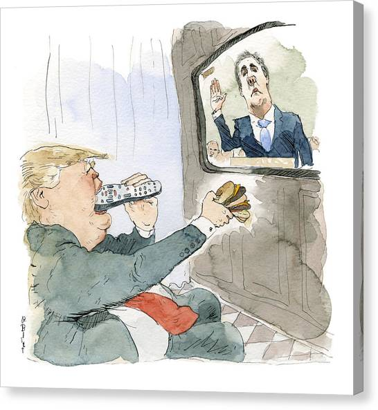 Trump Bites Remote Canvas Print by Barry Blitt
