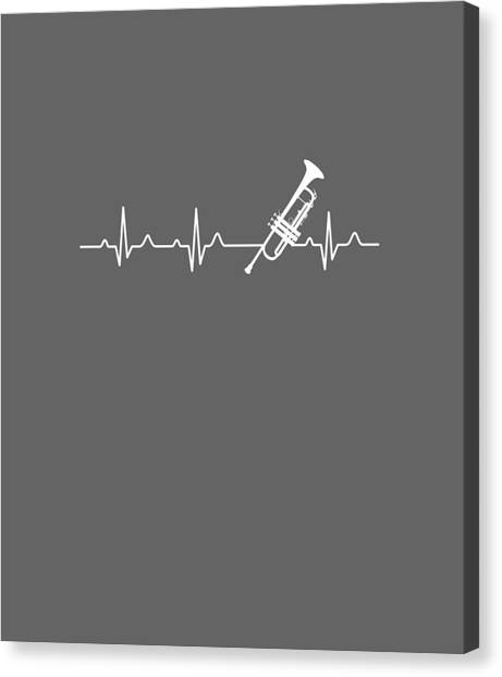 T Shirts Canvas Print - Trumpet Heartbeat For Your Hobbie Tees by Unique Tees