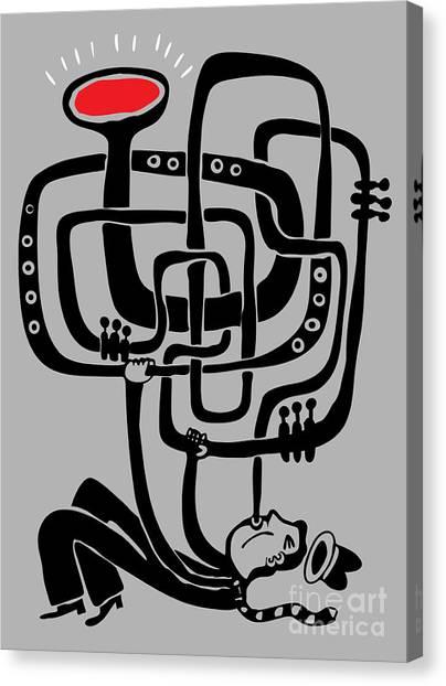 Brass Canvas Print - Trumpeter Play A Long Weird Trumpet by Complot