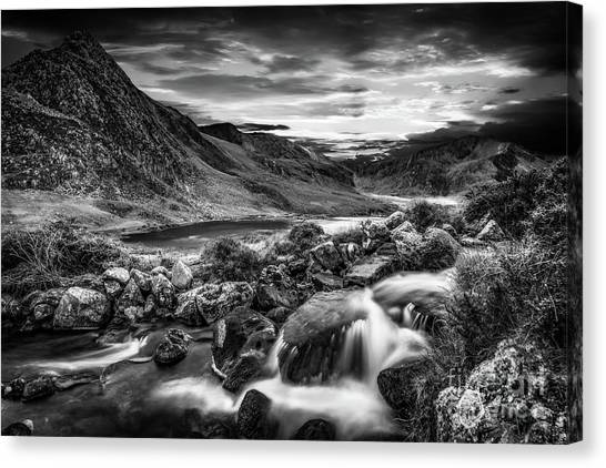 Ogwen Canvas Print - Tryfan And Ogwen Lake Snowdonia  by Adrian Evans