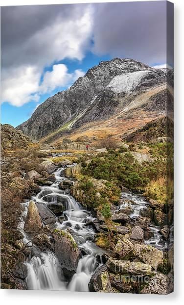 Tryfan Mountain Canvas Print - Tryfan Mountain Winter Rapids by Adrian Evans