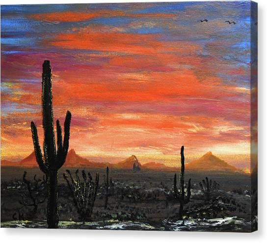 Tucson Mountains At Sunset Canvas Print