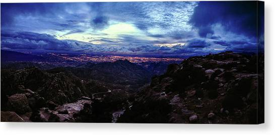 Canvas Print featuring the photograph Tucson Twilight Panorama by Chance Kafka