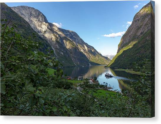 Canvas Print featuring the photograph Tufte, Naerofjord, Norway by Andreas Levi