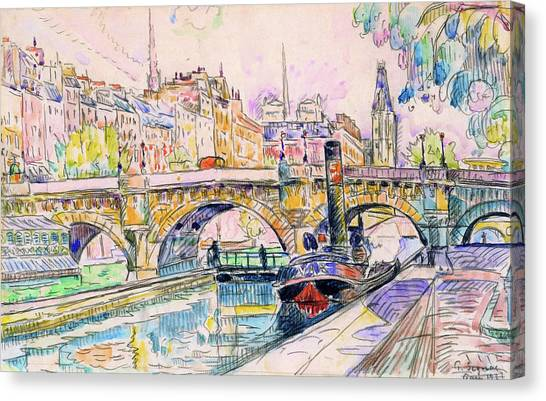Signac Canvas Print - Tugboat At The Pont Neuf, Paris - Digital Remastered Edition by Paul Signac