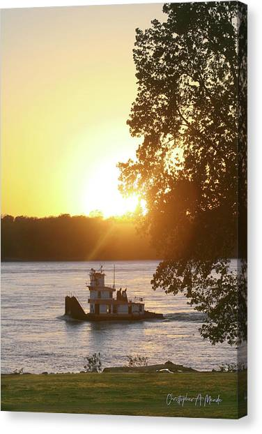 Canvas Print featuring the photograph Tugboat On Mississippi River by Christopher Meade