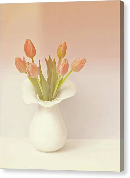 Vase Of Flowers Canvas Print - Tulips In Vase by This Wonderful Life