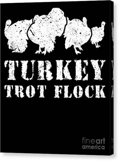 Fun Run Canvas Print - Turkey Trot Flock Running Group 5k Fun Run by Henry B