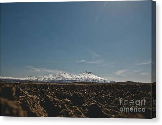 Turkish Landscapes With Snowy Mountains In The Background Canvas Print
