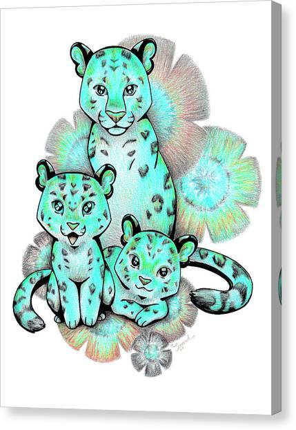 Turquoise Leopards Canvas Print