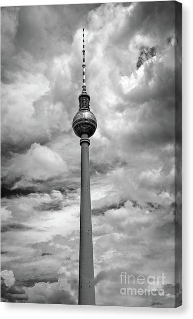 Tv Tower Canvas Print - Tv Tower In Berlin by Delphimages Photo Creations